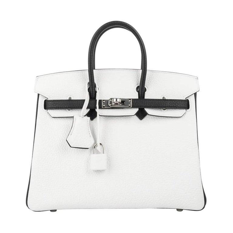 779834a3e68c Hermes Birkin 25 Bag HSS White w  Black Clemence Palladium Hardware For Sale
