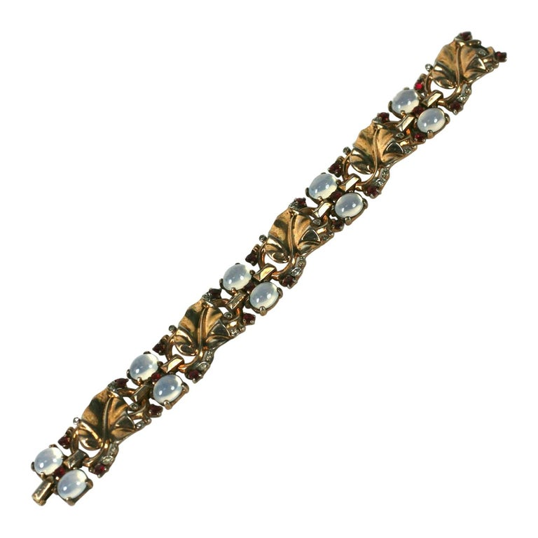 Trifari Alfred Philippe Moonstone and Ruby Golden Leaf Bracelet For Sale