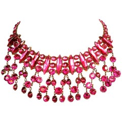 Vibrant cerise cut glass and paste drop necklace, att. Lanvin, France, 1920s