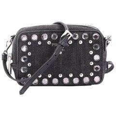Prada Zip Crossbody Bag Rhinestone Embellished Denim Mini