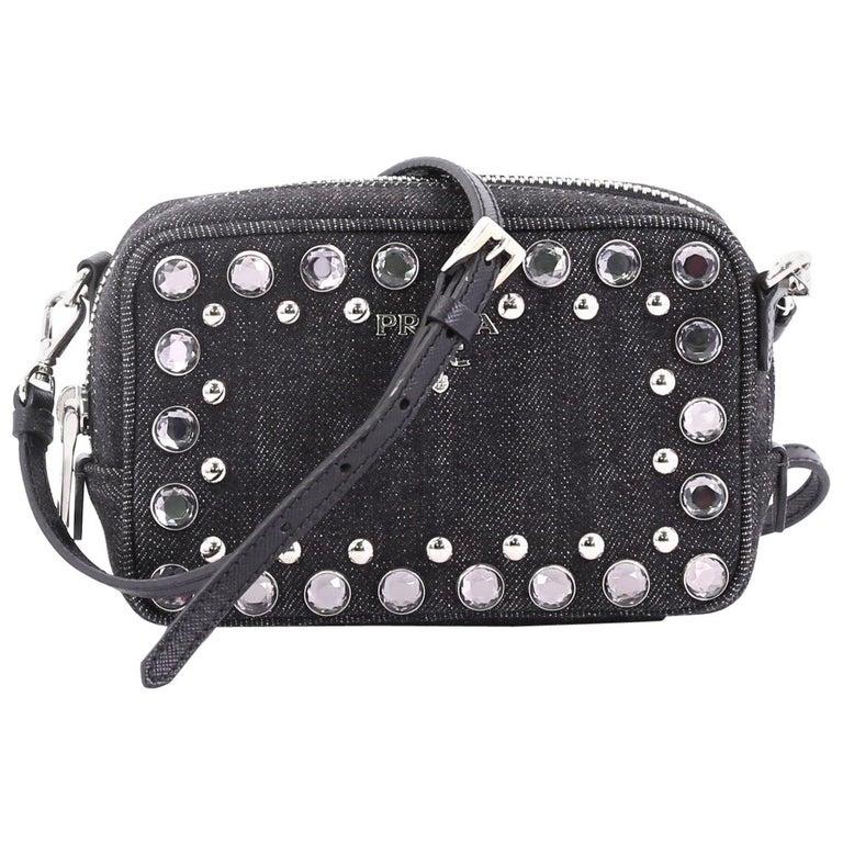 0167863065a6 Prada Zip Crossbody Bag Rhinestone Embellished Denim Mini For Sale ...
