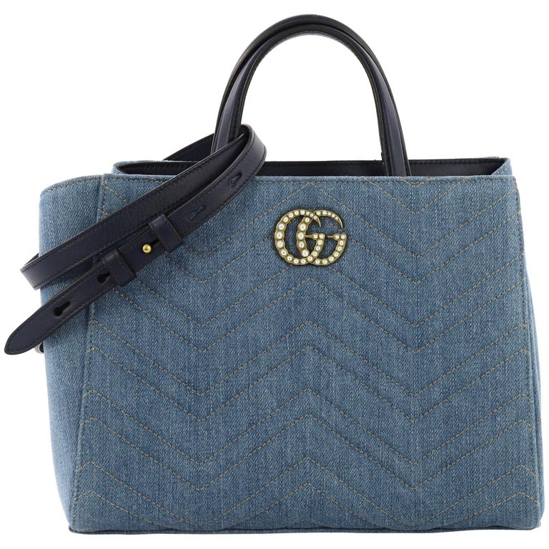 8b6be0e89385 Gucci Pearly GG Marmont Tote Matelasse Denim Small For Sale at 1stdibs