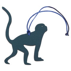 Hermes Petite h Bi-Color Bag Charm Monkey Blue Green