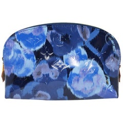 Louis Vuitton Blue Floral Pochette Cosmetic Pouch