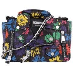 Moschino Biker Bag Printed Leather Medium