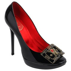 "ROGER VIVIER ""God Save the Queen"" Black Patent Leather Buckle Platform Heels"