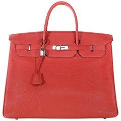 Hermès Rouge VIF Togo 40 cm Birkin Bag