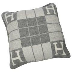 Hermès Cushion Avalon Iii Pm Signature H Ecru Gris Clair Throw Pillow