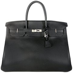 Hermès Black Noir Togo 40 cm Birkin Bag