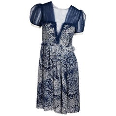 Blue & White Rodarte Printed Silk Dress