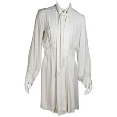 White Chanel Pleated Dress
