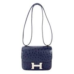 Hermès Blue Roi Ostrich Constance Mini 18
