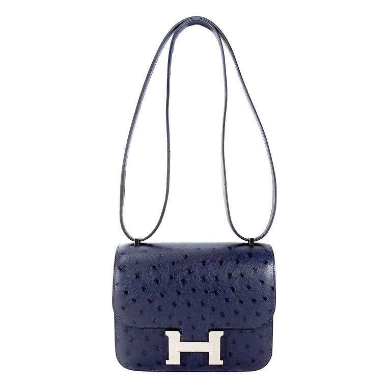 Hermès Blue Roi Ostrich Constance Mini 18 For Sale