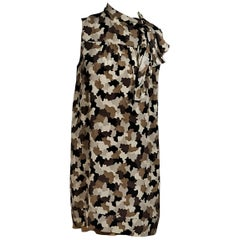 Brown Prada Camo-Printed Silk Shift Dress
