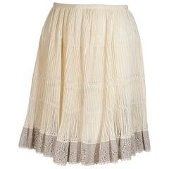Ivory Alaia Crochet Silk-Blend Skirt