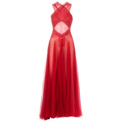 Azzedine Alaia Couture red silk evening dress, c. 1996