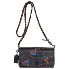 Multicolor Coach Beaded & Embroidered Leather Crossbody Bag