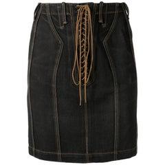 Azzedine Alaia Black Cotton Lace Up Denim Skirt