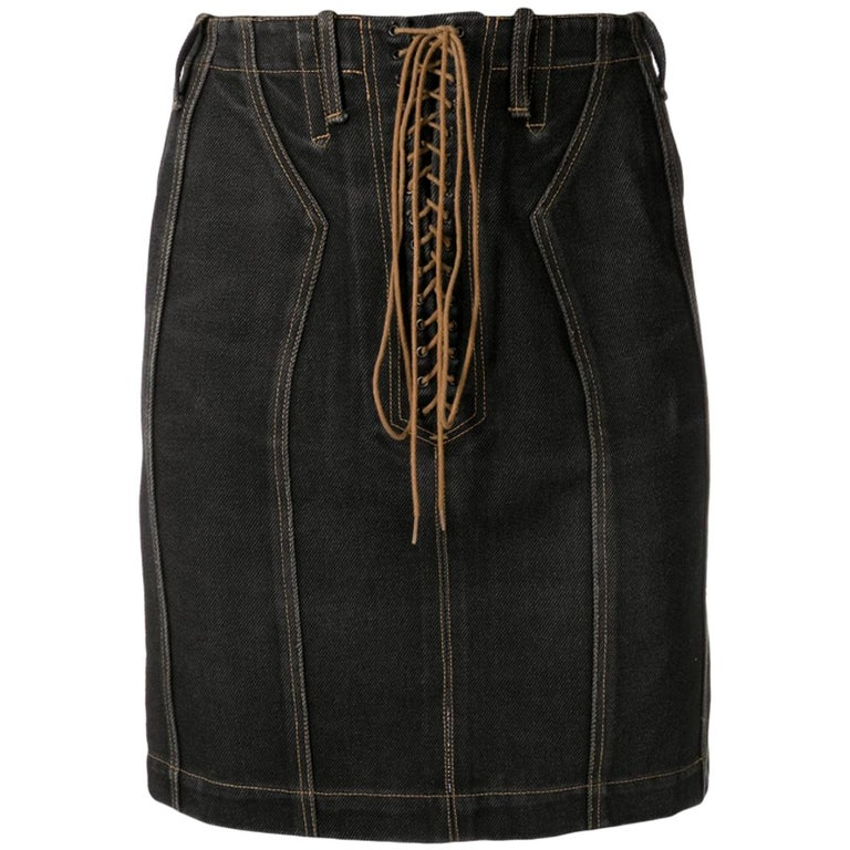 Azzedine Alaia Black Cotton Lace Up Denim Skirt For Sale