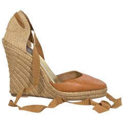 be4f58ab9d67 Tan Christian Louboutin Leather   Woven Espadrille Sandals