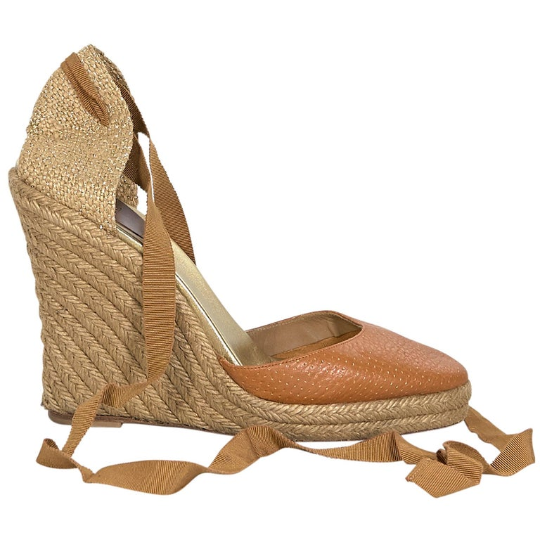 6f2273d8db7 Tan Christian Louboutin Leather & Woven Espadrille Sandals
