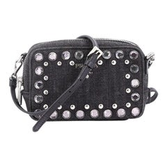 Prada Zip Crossbody Bag Rhinestone Embellished Denim Mini