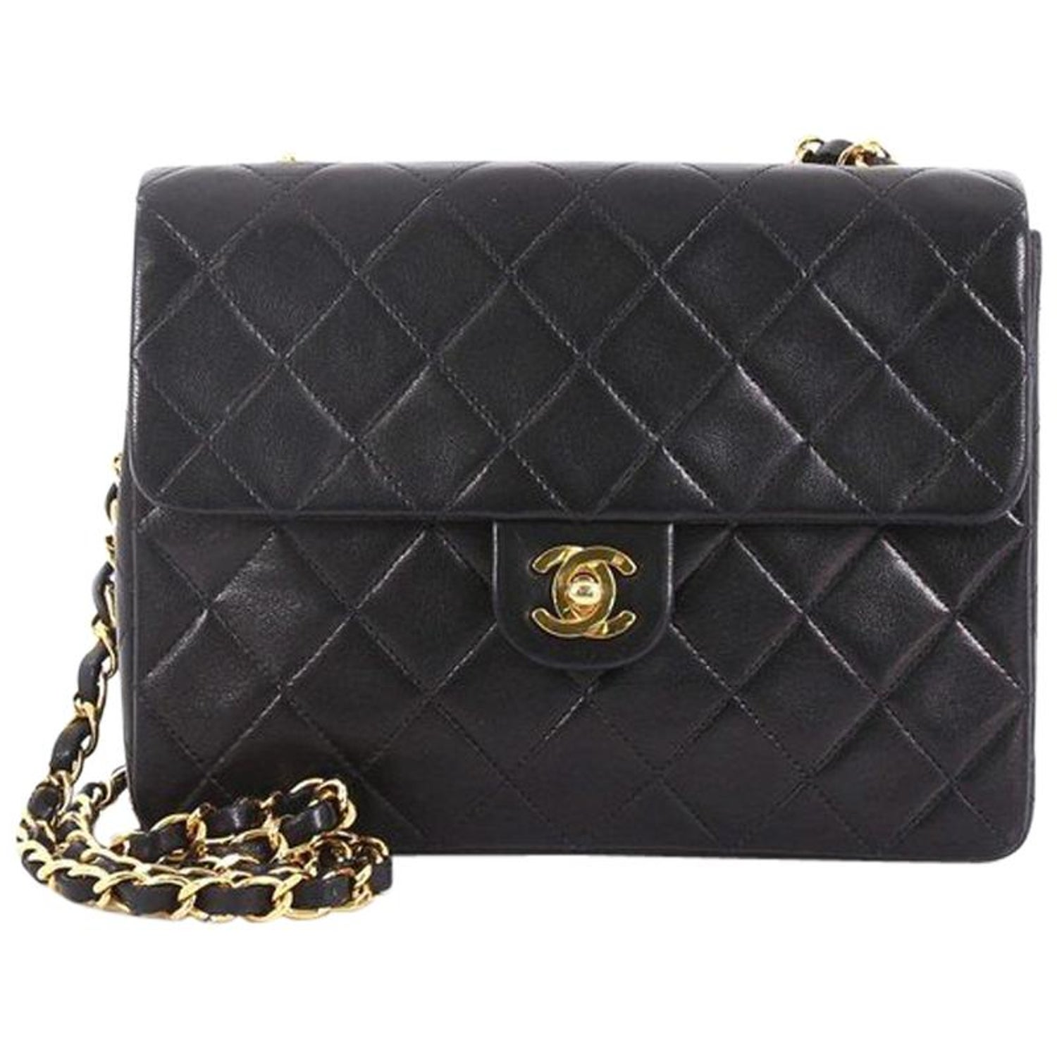 0e4f2023e8ed3f Chanel Vintage Square Classic Flap Bag Quilted Lambskin Small at 1stdibs
