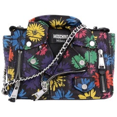 Moschino Biker Bag Printed Leather Medium