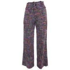 Chanel 98P Vintage 1998 Purple Tweed Wide Leg Trouser Pants - 38 / 6