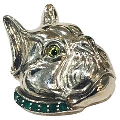 Art Deco French Bulldog brooch set with a collar of emeralds