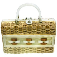 Mid Century Exceptional Lucite and wicker geometric handbag bag purse