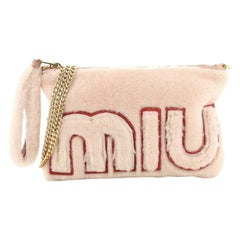 Miu Miu Logo Chain Clutch Shearling