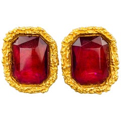 CHANEL Vintage Gold Tone Pink Oversized Gem Clip On Earrings