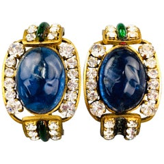 CHANEL Vintage Gold Tone Blue & Green Gem Rhinestones Gripoix Clip On Earrings