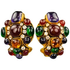 CHANEL Vintage Multi-Color Stone Byzantine Gripoix Clip On Earrings