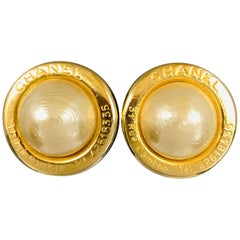 CHANEL Gold Tone 31 Rue Cambon Faux Pearl Clip On Earrings