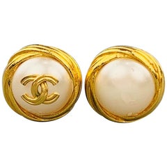CHANEL Vintage Gold Tone Faux Pearl CC Logo Clip On Earrings