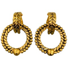 CHANEL VINTAGE Gold Tone Textured Clip-On Hoop Stud Earrings