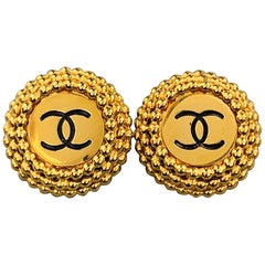 CHANEL VINTAGE Gold Tone Round Textured CC Clip On Earrings