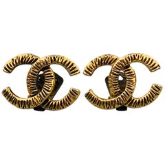 CHANEL VINTAGE 1950's Antique Gold Tone CC Clip On Earrings
