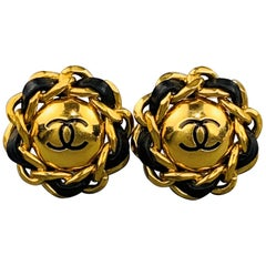 CHANEL VINTAGE Gold Tone & Black Leather Chain CC Clip On Earrings - Season 28