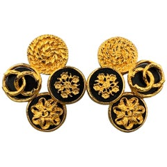 CHANEL VINTAGE Gold Tone & Black Metal CC Cluster Motif Clip On Earrings