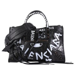 Balenciaga City Graffiti Classic Studs Handbag Leather Small