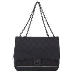 Chanel Black Nylon Fabric Matelasse Chain Flap Shoulder Bag France