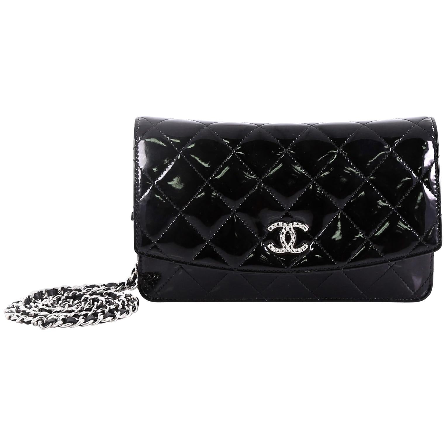 c7221be15d0f9e Chanel Brilliant Wallet on Chain Quilted Patent at 1stdibs