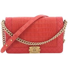 Chanel Reverso Boy Flap Bag Alligator and Calfskin New Medium