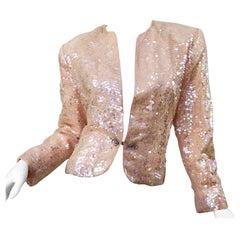 Nolan Miller 1980s Light Pink Sequin + Rhinestone Amazing Vintage 80s Jacket