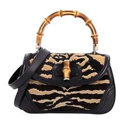 Gucci New Bamboo Convertible Top Handle Bag Printed Pony Hair Medium