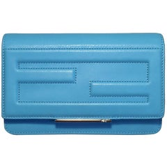 NWOT Fendi Maldives Blue Tube Leather Clutch