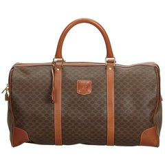 Celine Brown PVC Plastic Macadam Duffle Bag ITALY w/ PadlockPadlock
